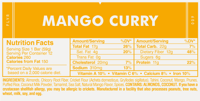 EXO Mango Curry Nutrition Facts