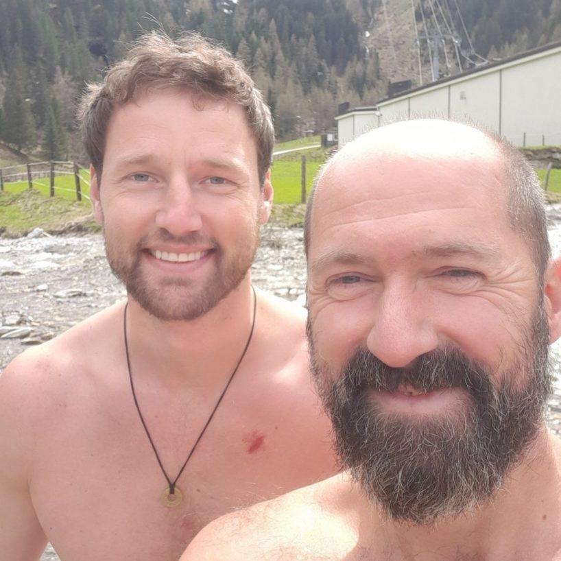 Max Gotzler und Josef Köberl beim Eisbaden